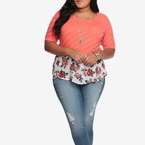 Torrid Coral Chevron Sweater Crop Top Sz 2